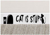 "Mouse Hole "" Cat is Stupid "" Skirting Board Funny Novelty Mouse Hole Mice Wall Home Office Vinyl Decal Sticker (BLACK ) 25cm x 6cm #Pro Cut Graphics"