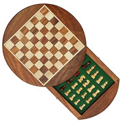 Royal Handicrafts 18cm Round Chess Set with Drawer