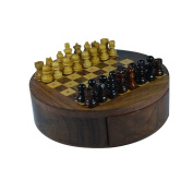 Royal Handicrafts Handcrafted Wooden Travel Chess With Pegged Top