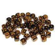 Sharplace 50x Board Game Yellow Black Dices Die D6 Dot for D & D MTG RPG Gaming Lovers Gift