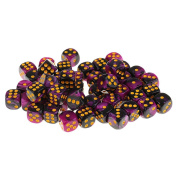 Sharplace 50x Board Game Purple Black Dices Die D6 Dot for D & D MTG RPG Gaming Lovers Gift