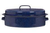 Premier Housewares Oval Self Basting Roaster Enamel, Carbon, Blue, 27 x 37 x 10 cm