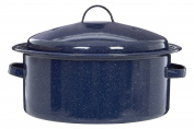 Premier Housewares Round Self Basting Roaster Enamel, Carbon, Blue, 28 x 30 x 12 cm