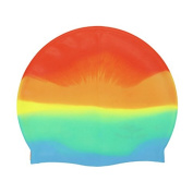 Forfar 1Pc Sports Silicone Swimming Cap Flexible Durable Elasticity Swimming Hat Colourful Waterproof Unisex Adult