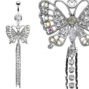 Belly Button Ring Navel Long Dangle Butterfly Body Jewellery 14 Gauge Rodium