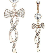 Belly Button Ring Swirling Ribbon with Paved Gems Rose Gold Plated Bow Navel Bow