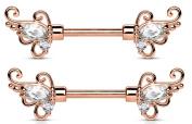 Nipple Ring CZ Floral Filigree Rose Goldtone Surgical Steel Nipple Barbells Bar pair