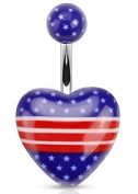 Belly Button Rings Heart with American Flag Print Acrylic 316L Surgical Steel