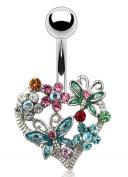 Belly Button Ring Navel Butterfly Flower Heart Body Spring Bouquet 14 Gauge
