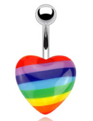Belly Button Rings Heart with Rainbow Pride Print Acrylic 316L Surgical Steel