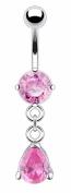 Belly Button Ring Navel Solitaire Teardrop Jewellery Dangle 14 Gauge