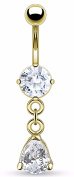 Belly Button Ring Navel Solitaire Teardrop Jewellery Dangle