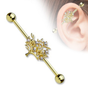 Industrial Barbell CZ Tree of Life 316L Surgical Steel 1 1/2 14g Bar Goldtone