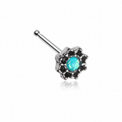 Lotus Opal Sparkle Filigree Icon WildKlass Nose Stud Ring 316L Surgical Steel