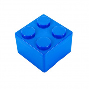 Pu Ran Creative Building Block Shapes Plastic Storage Box Saving Space Superimposed Desktop Handy Organiser for Home Office - Blue S