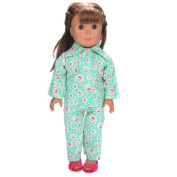 Prevently New Cute Bright Colour Pyjamas Nightgown Cotton Clothes for 46cm Our Generation American Girl Doll Cteative Toy