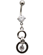 Fashion Dangle Charm Navel Ring with Clear Rhinestones