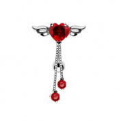 Silver Tone Red Crystal Cubic Zirconia Angel Winged Heart Belly Ring