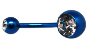 Metallic Blue Charm Navel Ring with Large Rhinestone