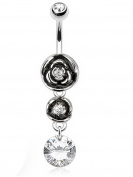 Rose Charm Curved Barbell Navel Ring