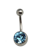 Sky Blue Rhinestone Curved Barbell Navel Ring