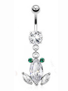 Clear Frog Diamond Dangle Charm Navel Ring