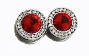 Red Stone Chrome Titanium Cubic Zirconia Screw On Plugs