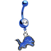 Officially Licenced Blue Anodized Stainless Steel NFL Detroit Lions Dangle Belly Ring