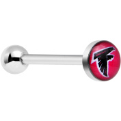 Officially Licenced NFL Stainless Steel Atlanta Falcons Logo Barbell Tongue Ring 14 Gauge 1.6cm