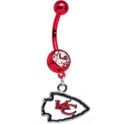 Officially Licenced NFL Anodized Kansas City Chiefs Logo Dangle Belly Ring