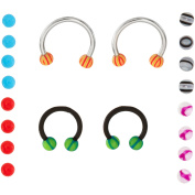 Body Magic 316L Steel and Surgical-Grade Material 2-Piece Horseshoe and 16 Loose-Bead Extreme Value Set
