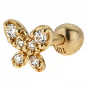Body Expressions CZ 10kt Yellow Gold Butterfly Cartilage Earring