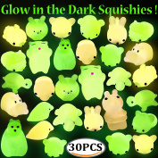 Mochi Squeeze Squishies, Outee 30 Pcs Mochi Squishy Glow in Dark Toys Soft Squishy Mochi Animal Squishy Stress Relief Animal Toys