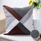 Valery Madelyn Woodland Christmas Cushion Covers Decorative Cotton Linen Patchwork Throw Pillowcases for Home Sofa (Grey, White and Brown, 45x45cm), Themed with Tree Skirt