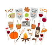 LUOEM Thanksgiving Day Party Photo Booth Props Happy Fall Yall Pose Sign Kit for Harvest Party Photographing Decoration 26 PCS