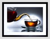 TEAPOT CUP TEA DRINK FOOD KITCHEN BLACK FRAME FRAMED ART PRINT PICTURE B12X8172