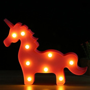 Kingmia Unicorn LED Night Light Lamp Kids Marquee Letter Lights Unicorn Shape Signs Light Up Wall Decoration Battery Operated