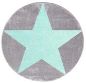Kids rug Happy Rugs STAR silver-grey/mint 133cm round