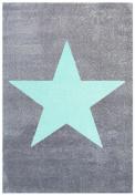 Kids rug Happy Rugs STAR silver-grey/mint 120x180cm