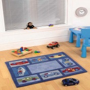 CHILDRENS RUG - KIDS RUG - eXtreme® Children's Play Blue Racing Car Rug 80cm x 100cm