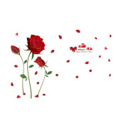 Winhappyhome Romantic Red Rose Wall Art Sticker for Bedroom Living Room Background Removable Decor Decals