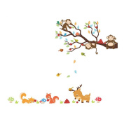 Winhappyhome Animals Tree Branch Wall Art Sticker for Bedroom Living Room Background Removable Decor Decals