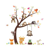 Winhappyhome Animals Monkeys Tree Wall Art Sticker for Bedroom Living Room Background Removable Decor Decals