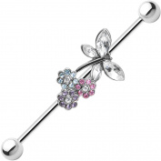 Body Candy Stainless Steel Barbell Multicoloured Flowers Clear Dragonfly Industrial Barbell 14 Gauge 37mm