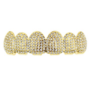 14k Gold Plated Micro Pave Grillz Iced-Out Top Upper Teeth Micropave Mouth Grills