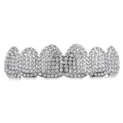 Micro Pave Bling Grillz Iced-Out Teeth Top Upper Silver Tone Micropave Hip Hop Grills
