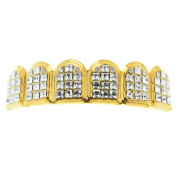 14k Gold Plated VIP Grillz Iced-Out Top Upper Princess-Cut Bling Teeth Hip Hop Grills