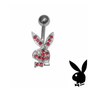 Playboy Belly Ring Sterling Silver Bunny Red Crystals Surgical Steel Barbell Body Jewellery