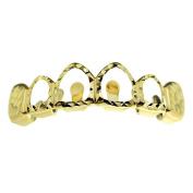 14K Gold Plated Grillz Upper Top Teeth Diamond-Cut 4 Four Open Face Hip Hop Grills
