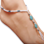 Turquoise Blue and White Stretchable Beach Wedding Footwear, Barefoot Sandals Anklets